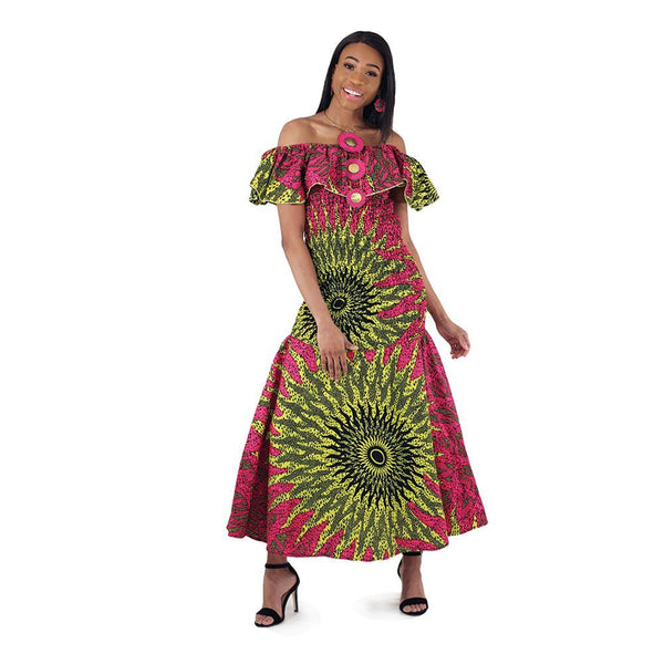 African-Made Pink Sun Elastic Dress