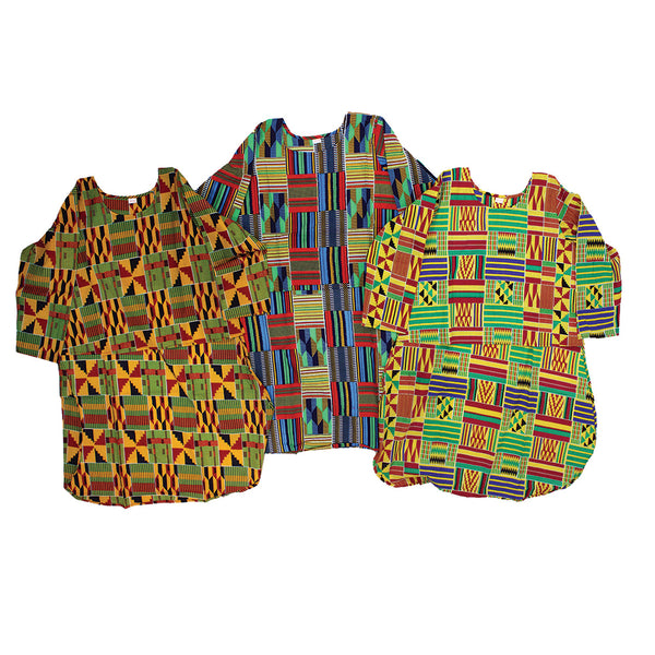Set Of 3 Kente Hi-Lo Tops