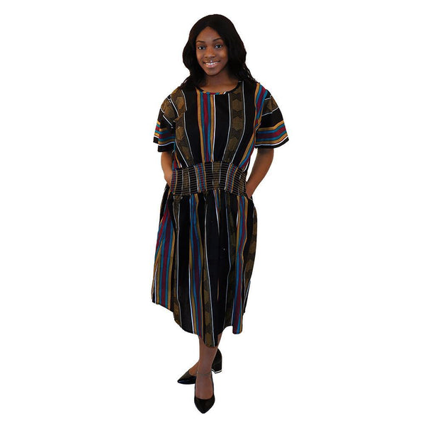 Black Kente Mother & Daughter Dresses