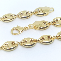 1-0050-h1 Gold Filled Puff Mariner Link anklet, 8mm - 10""