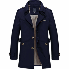 Mens Mid Length Trench Coat in Navy Blue