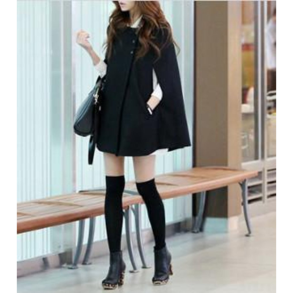 Womens Black Cape Coat