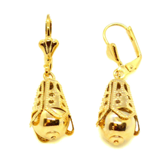 "(1-1049-h10-1) Gold Overlay Ball Drop Earrings, 1-3/4""."