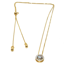 (1-6471-h5-1) Gold Filled Round CZ Necklace with Adjustable Bolo Tie system.