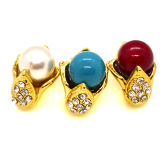 (1-1048-h10-1) Gold Overlay Colored Pearl Earrings, 10mm.