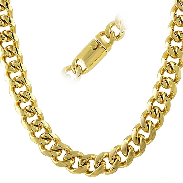 13MM IP Gold Miami Cuban Chain 316L Steel Box Clasp