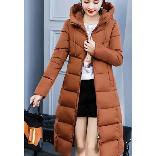 Womens Classic Puffer Hooded Long Coat in Brown