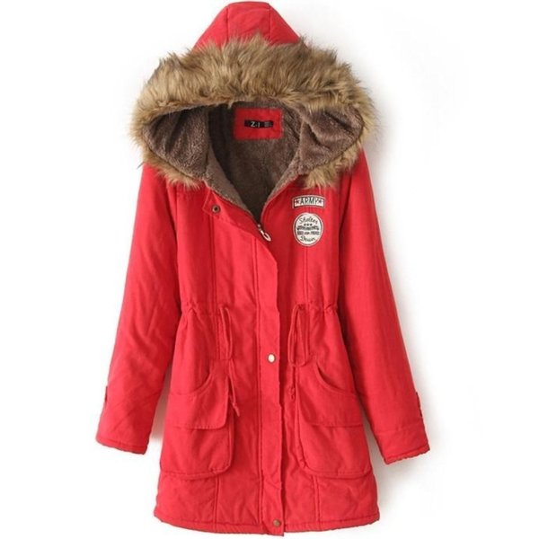 Womens Army Style Hooded Winter Coat in Red