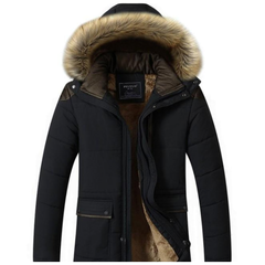 Mens Winter Hooded Coat in Beige