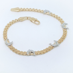 1-0436-h1 Gold Overlay Two Tone Dolphin Bracelet. 7-3/4""