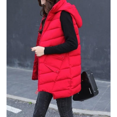 Womens Mid Length Zipped Up Puffer Vest with Hood in Red