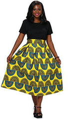 Women African Traditional Costume Flower Print Casual Dashiki Skirt