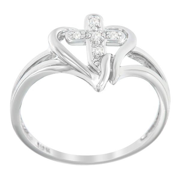 10k White Gold Cross .03ct. TDW Round-cut Diamond Accent Ring (H-I, I1-I2)