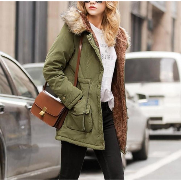 Womens Army Style Hooded Winter Coat