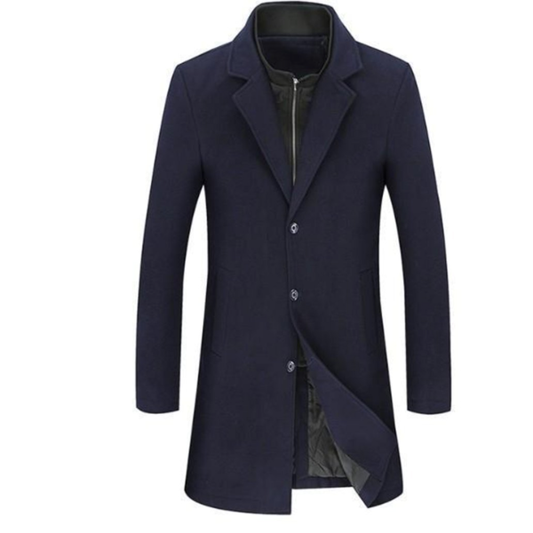 Mens  Navy Wool Blend Dual Collar Classic Mid Length Coat