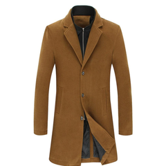 Mens Wool Blend Dual Collar Classic Mid Length Coat