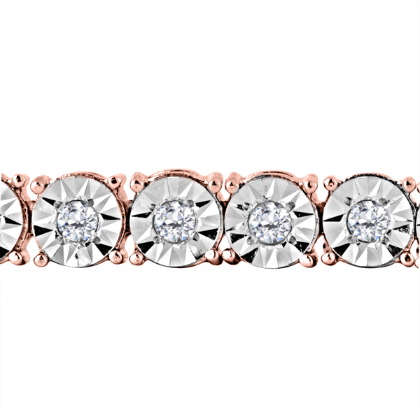 10k Rose Plated Gold Sterling Silver 1ct. TDW Rose Cut Diamond Miracle Tennis Bracelet (I-J, I2-I3)