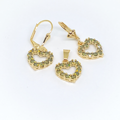 1-6418-h1 Gold Overlay Light Olive CZ Heart Earring and Pendant Set. 14mm