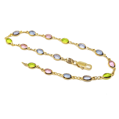 "1-0124-h7 18kt Brazilian Gold Filled Oval Multicolor Stones Anklet. 10"" length, 5.5mm wide."