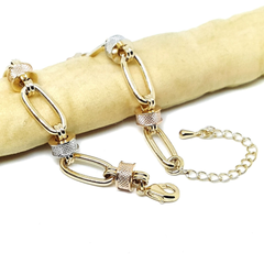1-0959-1-h5 Gold Overlay Three Tone links Bracelet.