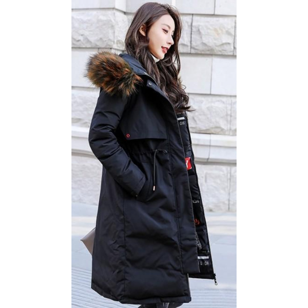 Womens Faux Fur Hooded Reversible Wear Puffer Coat in Classic Black