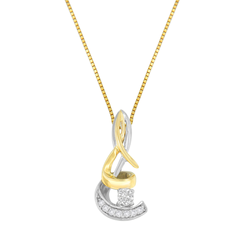 10K Two-Tone Gold 1/10 CTTW Round-Cut Diamond Spiral Pendant Necklace (I-J, I1-I2)