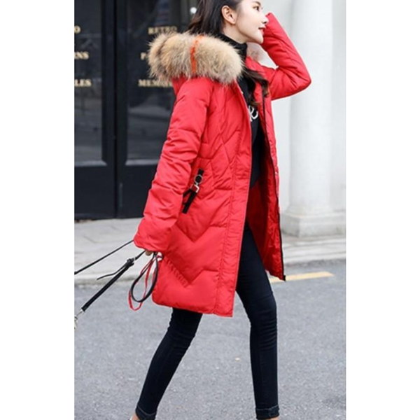 Womens Casual Puffer Coat with Faux Fur Hood in Red