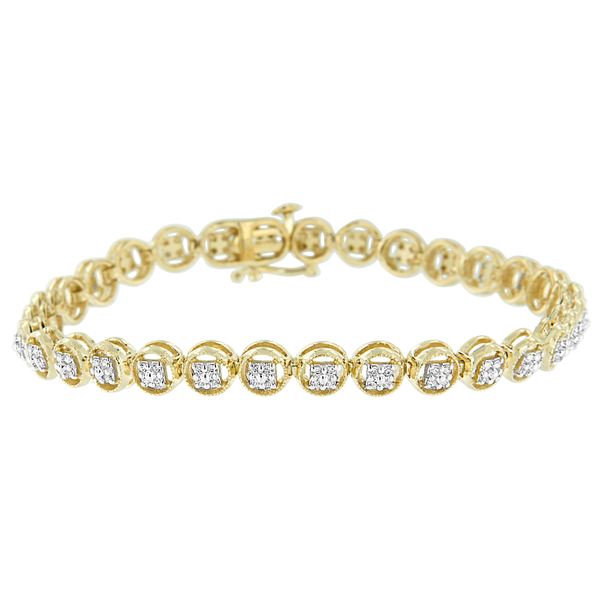 2 Micron 14k Yellow Gold Plated Sterling Silver 0.10ct TDW Diamond Circle Tennis Bracelet (I-J,I2-I3)