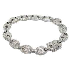 (1-0961-h7-2) White Gold Plated Iced Out Puff Link Bracelet.