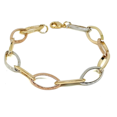 "(1-0977-h5) Gold Overlay Three Tone Greek Design Bracelet, 7-1/2""."
