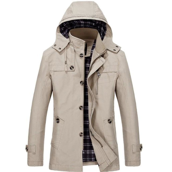 Mens Hooded Mid Length Winter Trench Coat in Beige