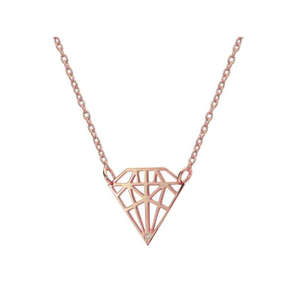 925 Rose Gold Sterling Silver Necklace Gemstone Shaped Pendant with Sparkling CZ Stone