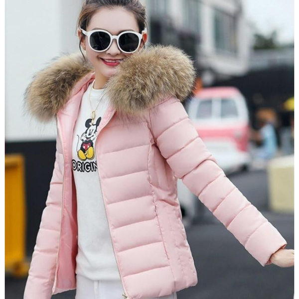 Womens  Hooded Slim Fit Winter Zip Up Short Coat in Pink