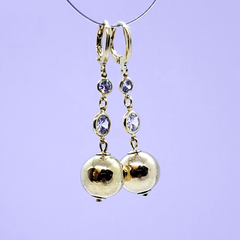 (1-1005-h9) Gold Overlay Ball Drop Earrings with CZ Accents.