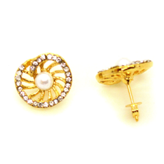 (1-1048-h10-2) Gold Overlay Pearl Fan Earrings, 15mm.