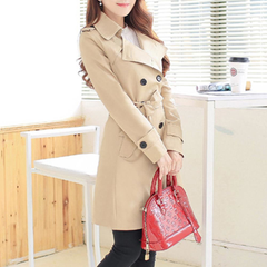 Womens Double Breasted Trench Coat in Red