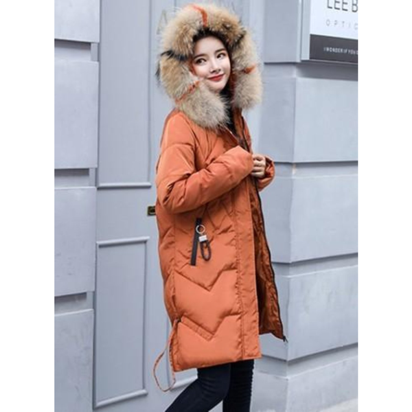 Womens Casual Puffer Coat with Faux Fur Hood in Caramel Brown