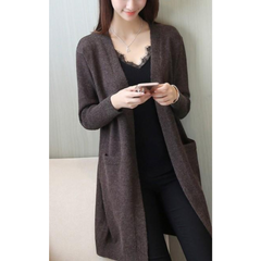 Womens Mid Length Knitted Open Cardigan