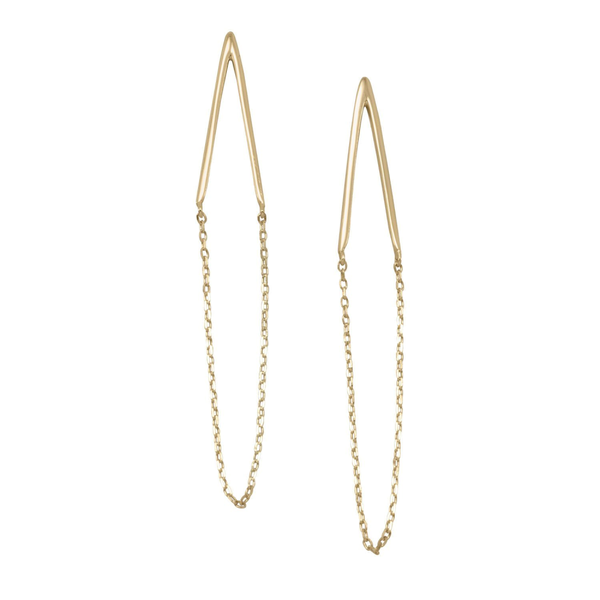14 Karat Gold Plated Chain Drop Earrings