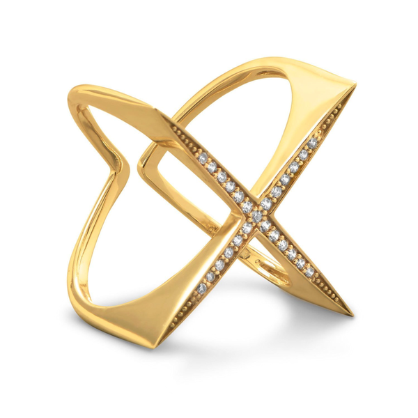 "14 Karat Gold Plated Flat Top CZ ""X"" Ring"