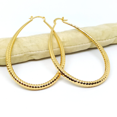 1-2738-h21 Gold Overlay Diamond Cut Oval Design Hoops. 40mm x 70mm