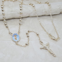 "1-3329-h2 Gold Overlay Rosary Necklace. Divino Niño, 24"", 4mm."