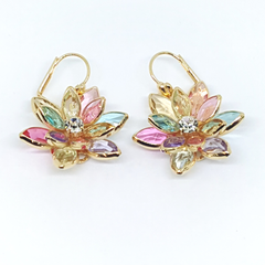 1-1245-h2 Gold Overlay Multicolor Flower Earrings, 1-1/4""