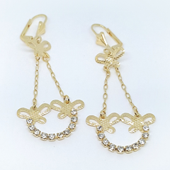1-1243-1-h2 Gold Overlay Dangling Butterfly Earrings with Stones, 2-1/4""