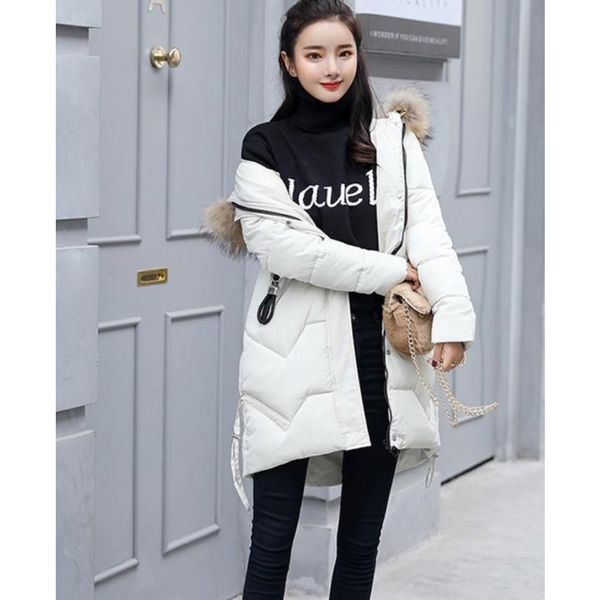 Womens Casual Puffer Coat with Faux Fur Hood