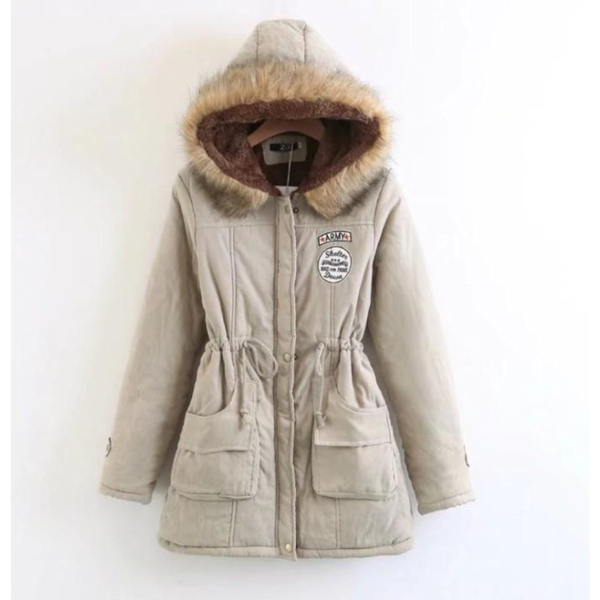 Womens Army Style Hooded Winter Coat in Beige