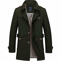 Mens Khaki Mid Length Trench Coat