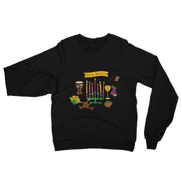 Happy Kwanzaa Unisex California Fleece Raglan Sweatshirt (www.webuyblack.com/locstarrevolution for Kinaras and Kwanzaa sets!)