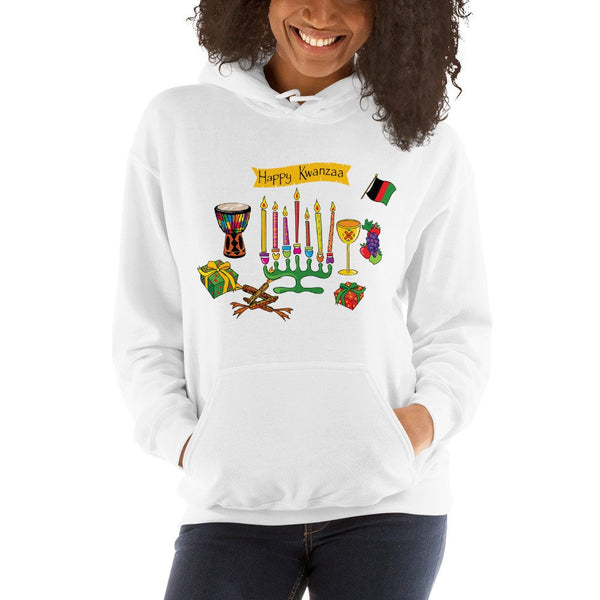 Happy Kwanzaa Hooded Sweatshirt (www.webuyblack.com/locstarrevolution for Kinaras and Kwanzaa sets!)