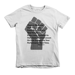 Malcolm X Adversity Short sleeve kids t-shirt-LocStar Revolution-LocStar Revolution - African Tees, African American T-Shirts, Black Pride Tees, RBG T-Shirt